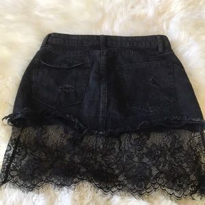 Black Leather and Lace Skirt